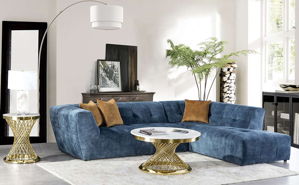 Acanva Luxury 113 W Mid Century Velvet Tufted Low Back Sofa Set L Shape 2 Piece Living Room Couch Right Hand Facing Sectional Blue Furniture Decor
