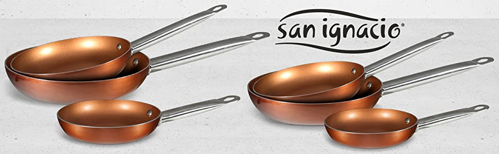 Pack San Ignacio PK1410 Sartenes Professional Chef Copper Plus 6PCS Ø18 Ø22 Ø26 Ø20 Ø24 Ø28