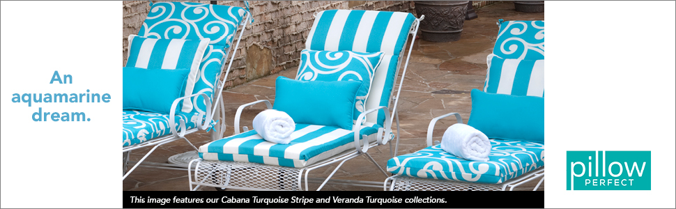 72.5 x 21 Pillow Perfect 571607 Outdoor//Indoor Cabana Stripe Chaise Lounge Cushion Turquoise