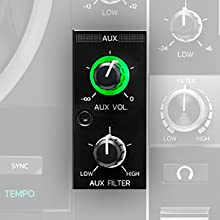 mezclador por hardware, mezclador integrado en hardware, AUX, controladora de dj