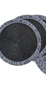 Black fringe placemats, round black, round black placemats, round fringe placemats, set of 6 round