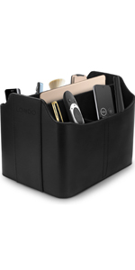 Londo Leather Remote Control Organizer and Caddy with Tablet Slot
