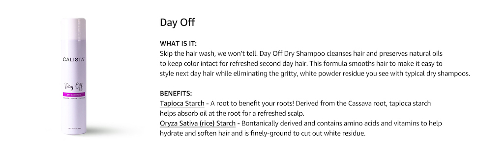 calista day off dry shampoo, product details, hair-care essentials, powder free, color safe