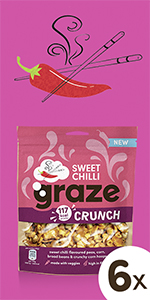 graze sweet chilli crunch peulvruchten & groenten snack| 6 x 104 gram