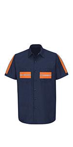 red kap enhanced visibility works shirt, reflective shirt, reflective work shirt
