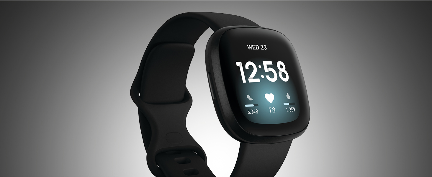 render of fitbit versa 3 with clock face