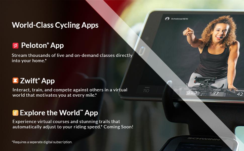 World Class Cycling apps Peloton App Zwift App Explore the World App