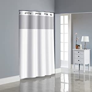 Hookless Fabric 3-in-1 Shower Curtain Set with PEVA It's A Snap! Snap-In Liner and Window