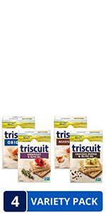 Triscuit Whole Grain Crackers 4 Flavor Variety Pack, Regular Size, 4 Boxes