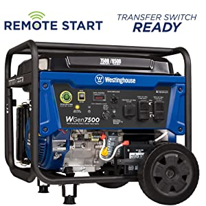 Westinghouse WGen7500DF Dual Fuel Portable Generator - 7500 Rated Watts on