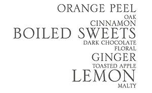 Orange Peel, Oak, Cinnamon, Boiled Sweets, Dark Chocolate, Floral, Ginger, Toasted Apple, Lemon,malt
