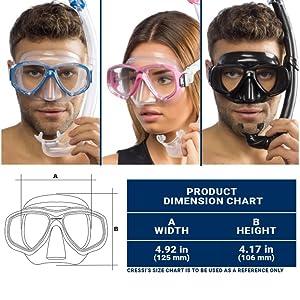 scuba mask, free dive, free diving, cressisub