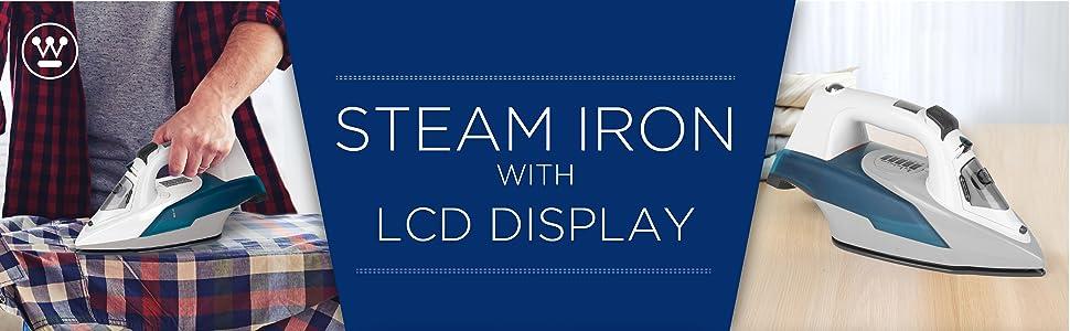 steam iron, lcd, ceramic sole plate, electric, steam