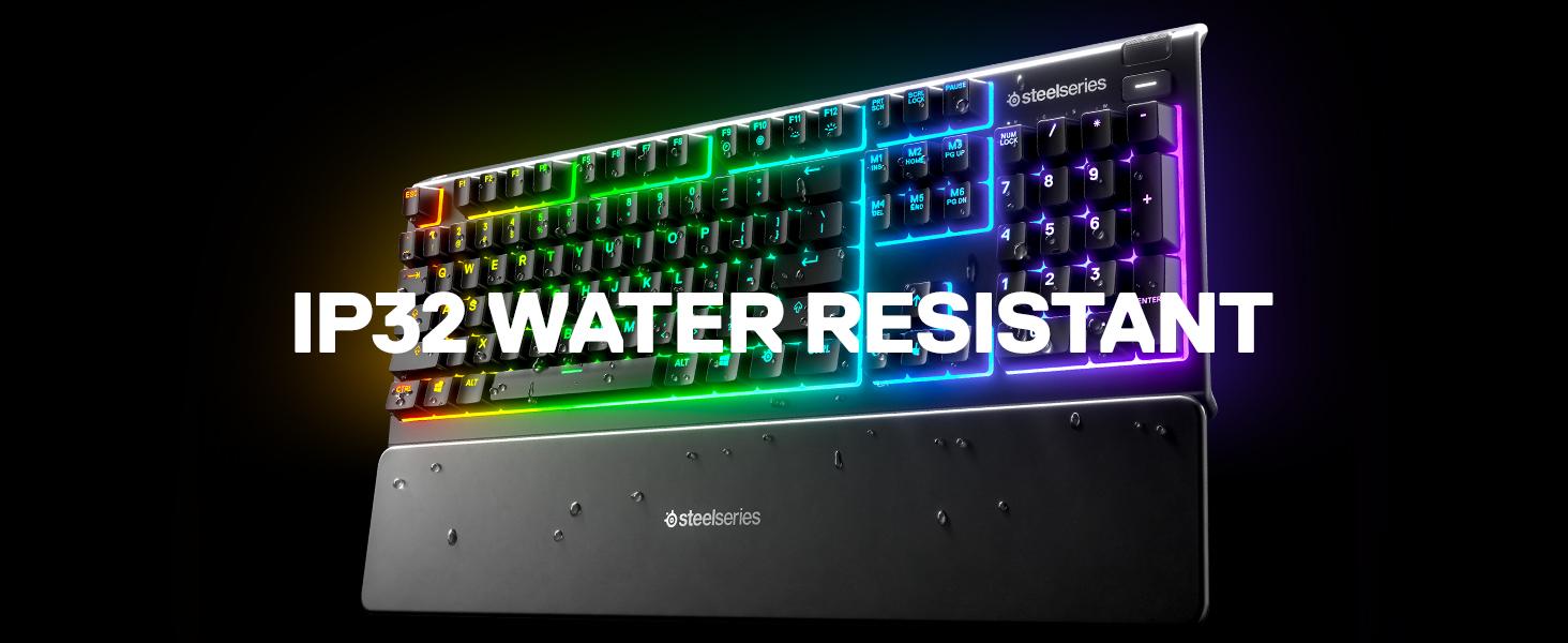 SteelSeries Apex 3 - Teclado RGB para Gaming (Iluminación RGB de 10 Zonas, reposamuñecas magnético Superior) Teclado QWERTY Español