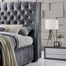 Brando Wing Back Chesterfield King Size Bed Frame 5ft 150cm Grey