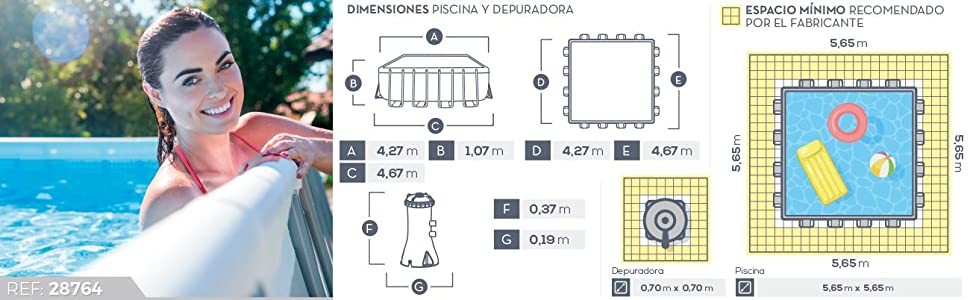 Intex Prisma Frame - Piscina desmontable 427 x 107 cm, con ...