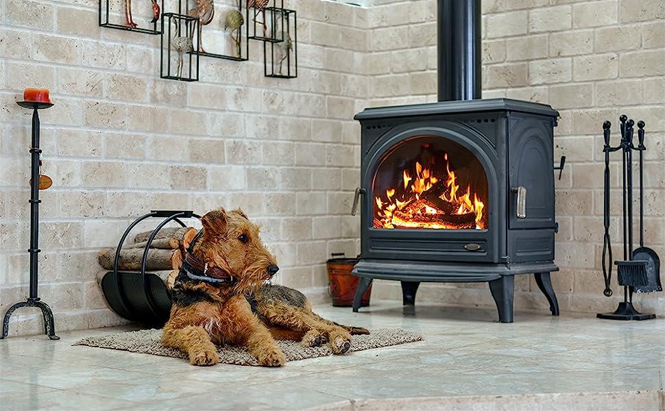Rutland, dog, wood stove, fireplace, family, home, hearth, fire