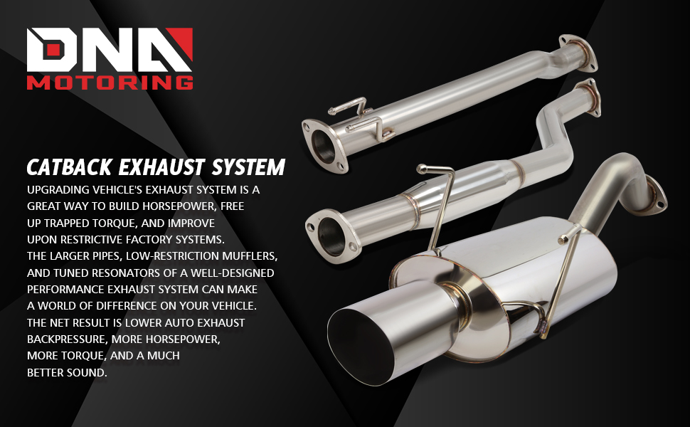 DNA Motoring CBE-OE-ARSX-S Stainless Steel Catback Exhaust System