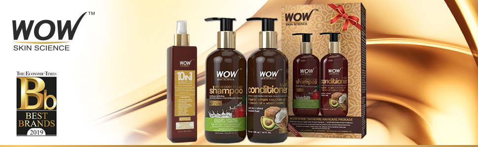 WOW COCONUT  CONDITIONER + WOW 10 IN 1 HAIR REVITALIZER + WOW APPLE CIDER VINEGAR SHAMPOO