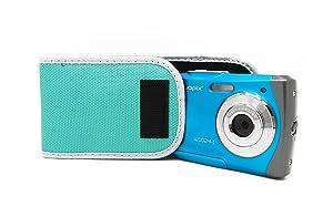 blaue W1024 Splash Unterwasserkamera mit blauer Schutzhülle