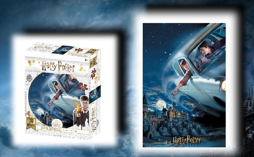 Prime 3D-Puzzle lenticular Harry Potter y Ron en el Ford Anglia 300 Piezas (Efecto 3D)