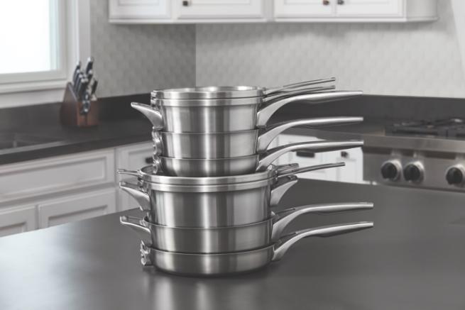 calphalon premier space saving stainless steel 10 piece cookware set kitchen dining. Black Bedroom Furniture Sets. Home Design Ideas