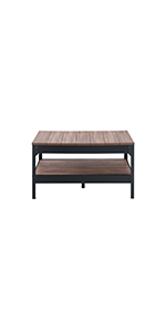 Table Basse Industrie Métal Noir et Bois Table de salon Table à café