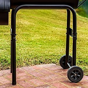 wheels;wheel;mobile;mobility;easy;smoke;smoker;patio;deck;back;yard;grilling;char;broil;charbroil