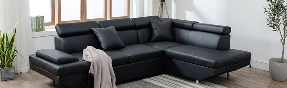 BestMassage Corner Sofas Sets for Living Room, Leather Sectional Corner Sofa with Functional Armrest and Support