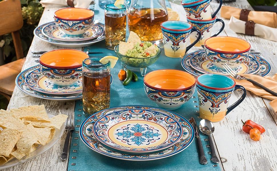 Zanzibar Dinnerware Set with Ice tea and Chips & Dip