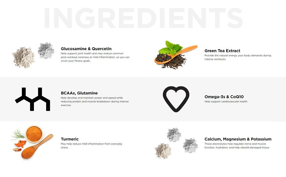 liquid iv turmeric bcaas omega 3 calcium magnesium hydration glucosamine green tea coq10 glutamine