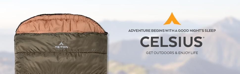 The TETON Sports Celsius Regular Sleeping Bag because adventure begins with a good night's sleep.
