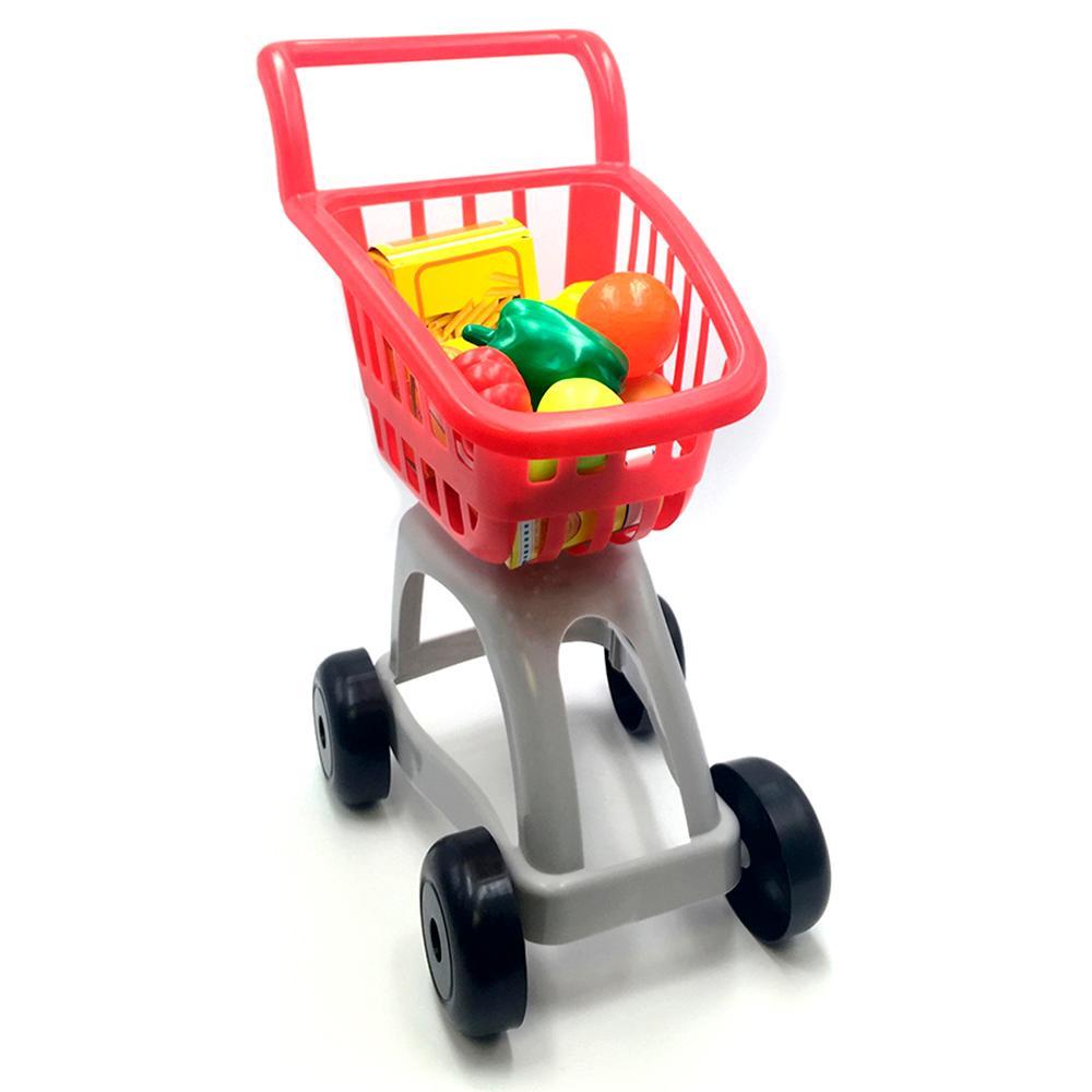 Carrito de supermercado con kit de alimentos