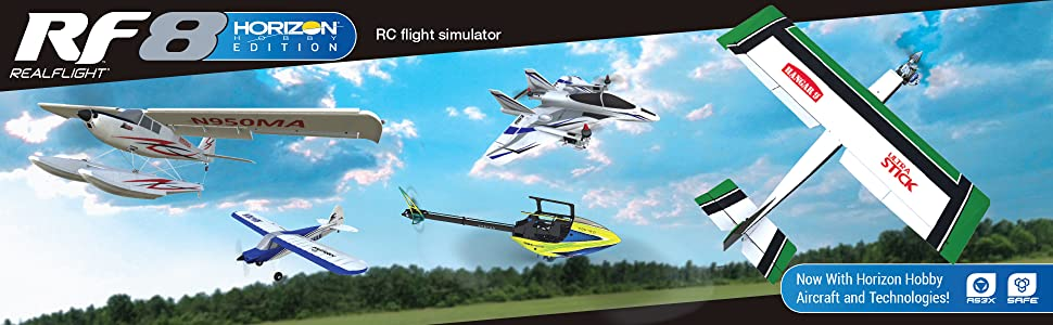 RealFlight 8 Horizon Hobby Edition screenshot with sky and 5 new exclusive aircraft additions