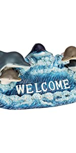 dolphin welcome statue, welcome sign, dolphin, dolphin sculpture, dolphin sign, garden statue