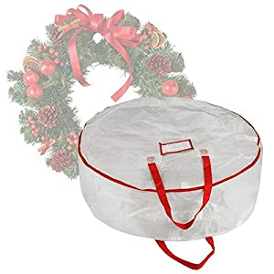 Elf Stor Deluxe White Holiday Christmas Wreath Storage Bag For 30 Wreaths