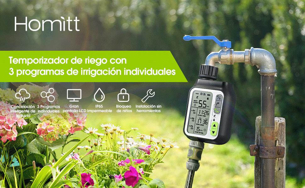 Homitt Temporizador de Riego Programable, Programador de Riego Jardín, con Función de Sensor de Lluvia, 3 Programas de Agua Separados, para Jardín, Césped, Sistema de Riego: Amazon.es: Jardín
