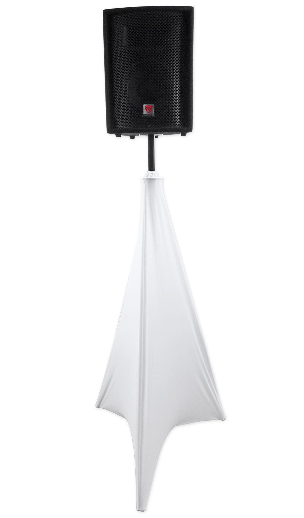 Amazon Com Rockville White Tripod Pa Speaker Stand Scrim