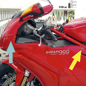 superbikes, we need to remove the side panels with the motorcycle supported on a rear paddock stand