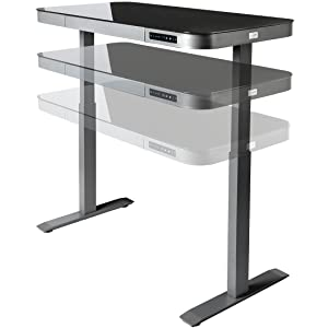 Seville Classics AIRLIFT Tempered Glass Electric Standing Desk with Drawer,  2 4A USB Ports, 3 Memory Buttons (Max  Height 47