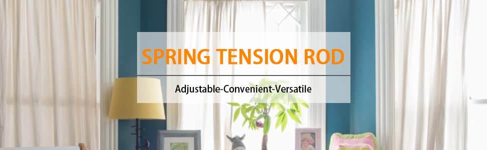 White Spring Tension Curtain Rod