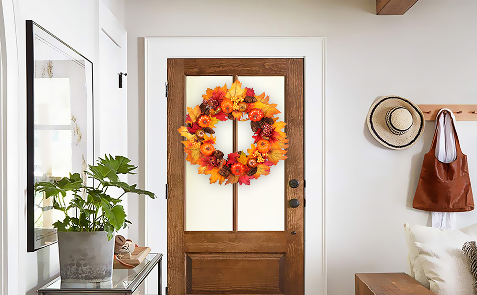 Primitive Fall Thanksgiving Halloween Door Wall Wreath Pumpkin Pine Cone Leaves