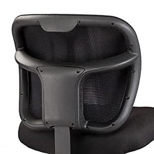 closeup of the Vue task chair's seat back on white background