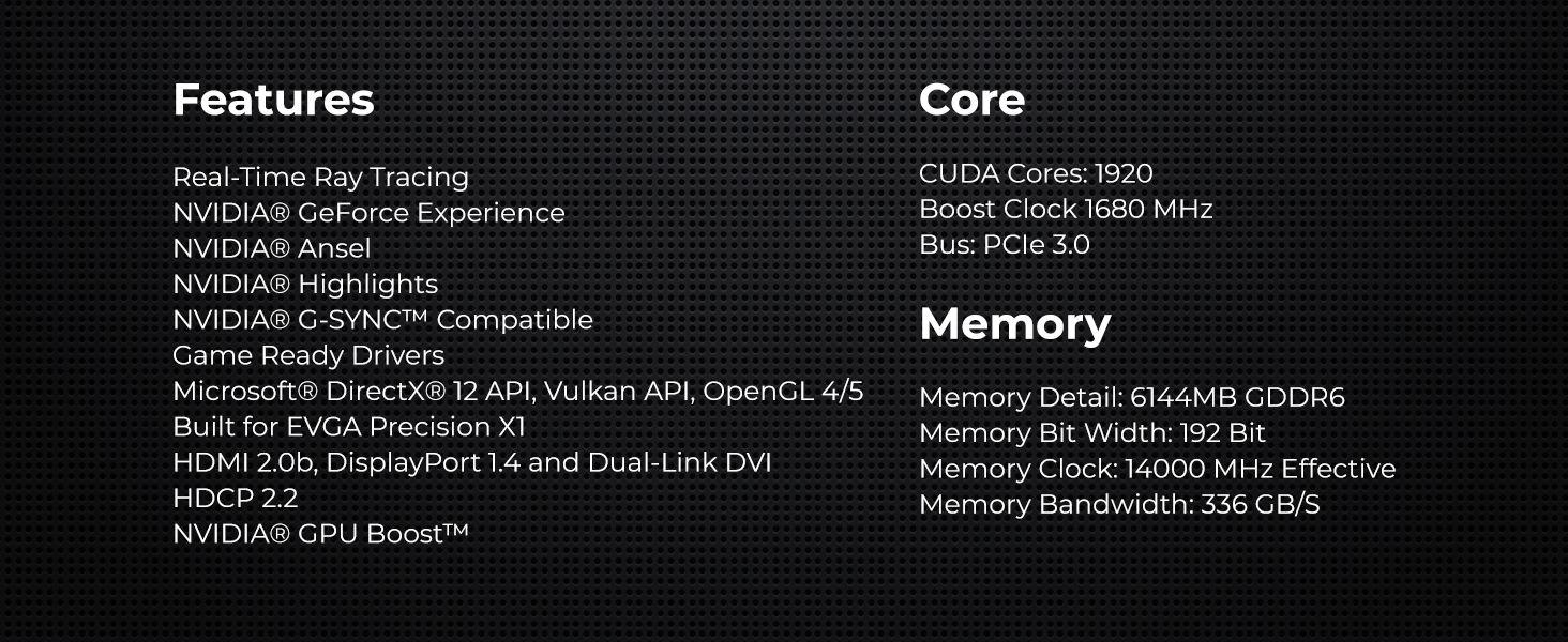 EVGA GeForce RTX 2060 Gaming, 06G-P4-2060-KR, 6GB GDDR6, HDB Fan