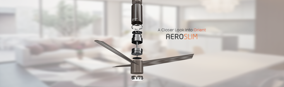 Breakdown of the components of Aeroslim. Invertor Motor technology, save 40% energy
