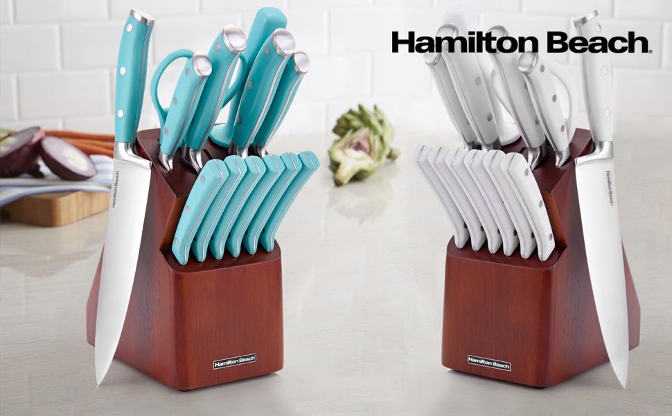 knife, knives, set, cutlery, teal, blue, turquoise, premium, high quality, Hamilton beach, wood