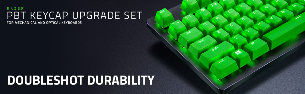 Amazon Com Razer Doubleshot Pbt Keycap Upgrade Set For Mechanical Optical Keyboards Compatible With Standard 104 105 Us And Uk Layouts Razer Green Computers Accessories
