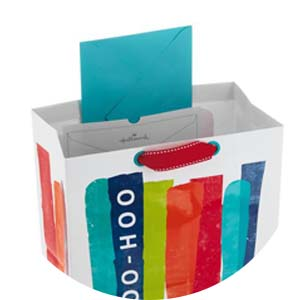 Innovative card pocket in select gift bags keeps greeting cards front and center