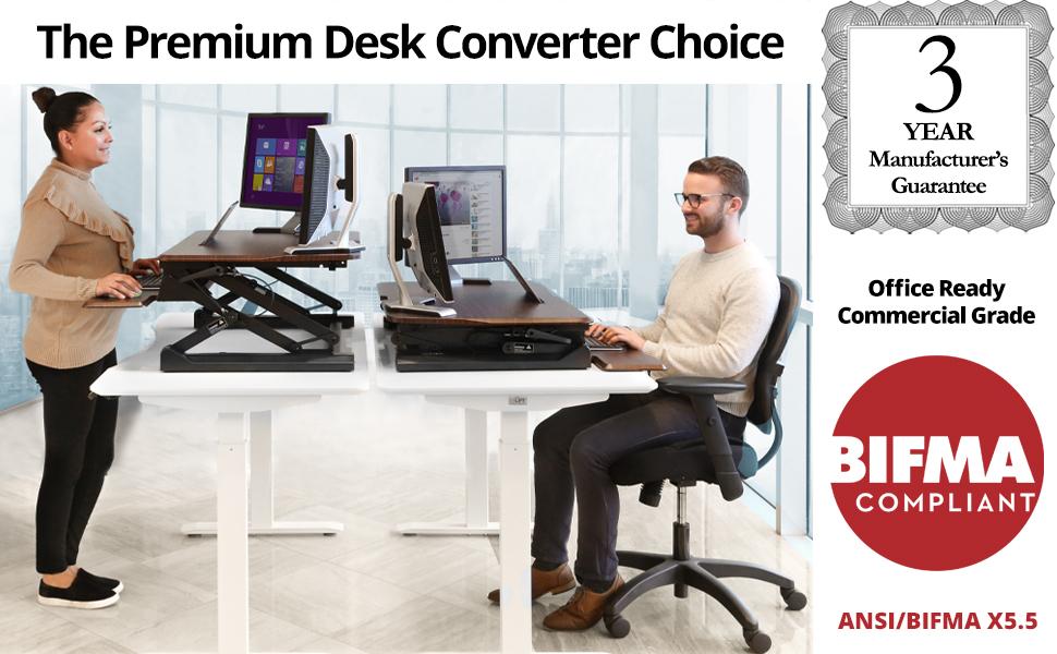 sevilleclassics standing desk converter walnut sit stand gas spring manual up down adjustable