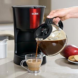 Solac CF4029 Stillo Red Cafetera de goteo de 1,2 litros, 12 tazas de café, 900W, 14 Cups, Negro y rojo: Amazon.es: Hogar